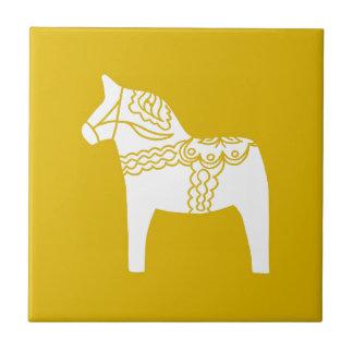 Yellow Dala Horse Small Square Tile