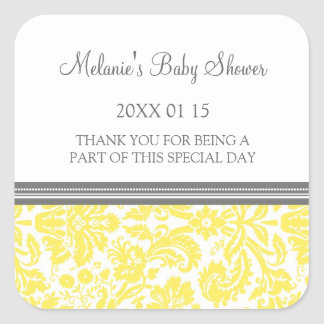 Yellow Damask Baby Shower Favor Stickers