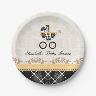 Yellow Damask Carriage Baby Shower 7 Inch Paper Plate