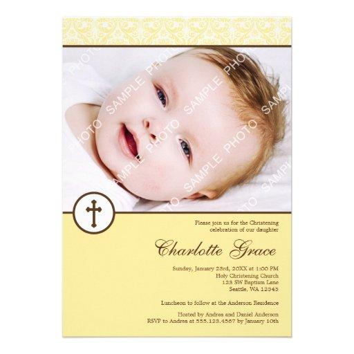 Yellow Damask Cross Photo Baptism Christening Personalized Invitations