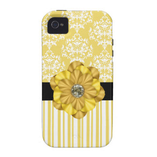 Yellow Damask & Diamond Print iPhone Case Vibe iPhone 4 Case