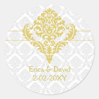 yellow damask envelope seals round sticker