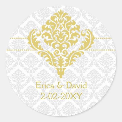 yellow damask envelope seals stickers