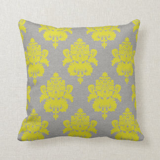 Yellow Damask on Grey Cushion