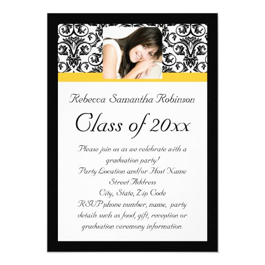 Yellow Damask Photo Girl's Graduation Card