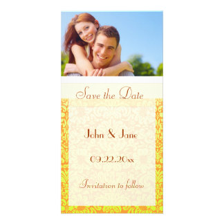 "Yellow Damask/photo  ""Save the Date"" Personalised Photo Card"