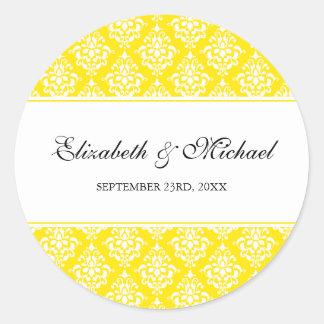 Yellow Damask Round Wedding Favor Label Round Sticker