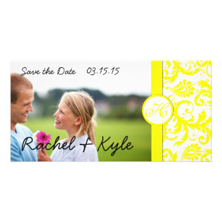 Yellow Damask Save the Date Photo Cards