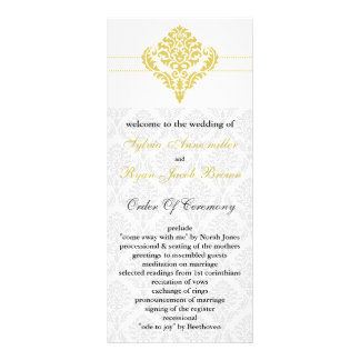yellow damask Wedding program Full Colour Rack Card