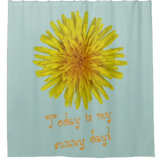 Yellow Dandelion Flower any Text on any Colour Shower Curtain