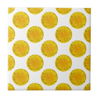 Yellow Dandelion Flower Photo Dot 0560 Small Square Tile