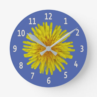 Yellow Dandelion Flower White Digits on any Colour Round Clock