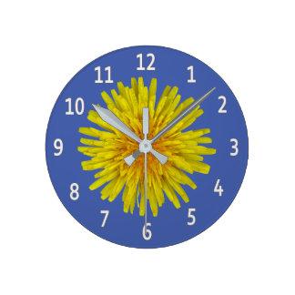 Yellow Dandelion Flower White Digits on any Colour Wallclocks
