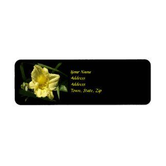Yellow Daylily Flower Return Address Label