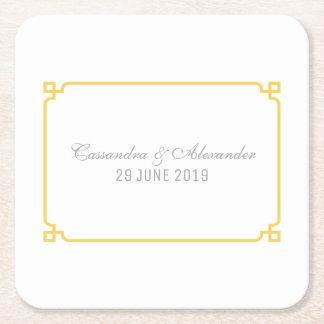 Yellow Deco Chic Wedding Square Paper Coaster