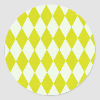 Yellow Diamond Circle Round Sticker