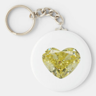 Yellow Diamond Heart Basic Round Button Key Ring