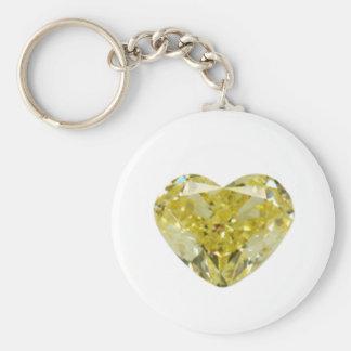 Yellow Diamond Heart Basic Round Button Key Ring