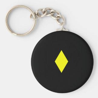 Yellow Diamond Basic Round Button Key Ring