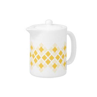 Yellow Diamond Pattern Tea Pot