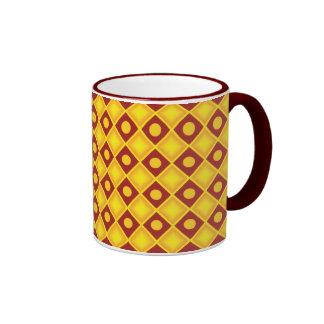 Yellow diamonds on red background coffee mug