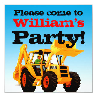 Yellow Digger 2nd Birthday Boy's Party 13 Cm X 13 Cm Square Invitation Card
