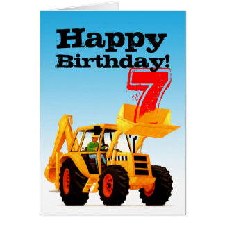 Yellow Digger 7th Birthday Greeting Card