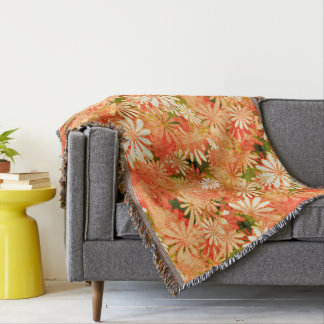 Yellow Digital Daisies Throw Blanket