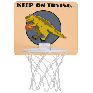Yellow dinosaur cartoon playing basketball mini basketball hoop