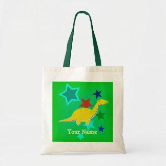 Yellow Dinosaur Stars Name Bag/ Tote
