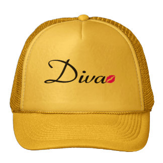 Yellow Diva Hat with Kissing Lips