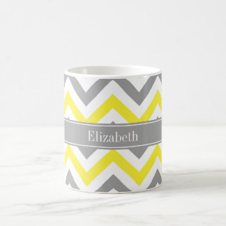 Yellow Dk Gray White LG Chevron Gray Name Monogram Basic White Mug