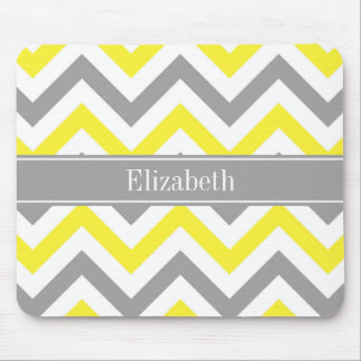 Yellow Dk Gray White LG Chevron Gray Name Monogram Mouse Pad