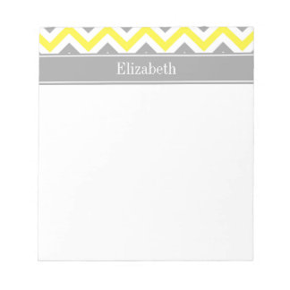 Yellow Dk Gray White LG Chevron Gray Name Monogram Notepad