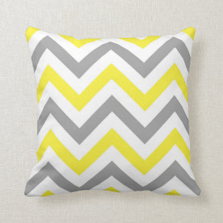 Yellow, Dk Gray Wht Large Chevron ZigZag Pattern Cushion