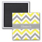 Yellow Dk Grey White LG Chevron Grey Name Monogram Magnet