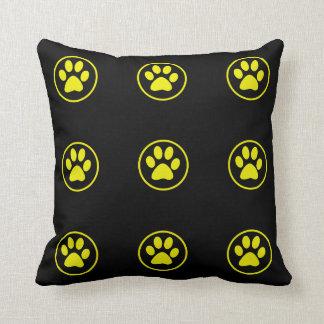 Yellow Dog Paw Design Dog Lover Cushion