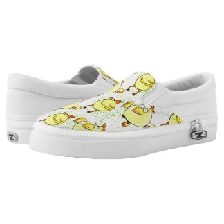 Yellow doodle chicken with retro halftones printed shoes