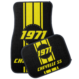 Yellow Double Race Stripes | Personalise Floor Mat