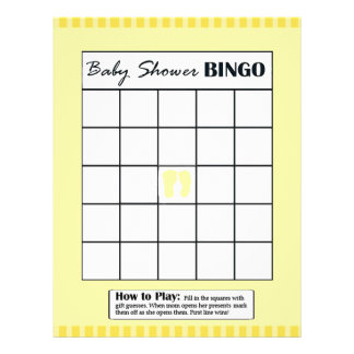 Yellow Double Sided Baby Shower Game BINGO/Daddy 21.5 Cm X 28 Cm Flyer