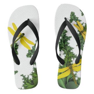 Yellow Dragonflies Flip Flops