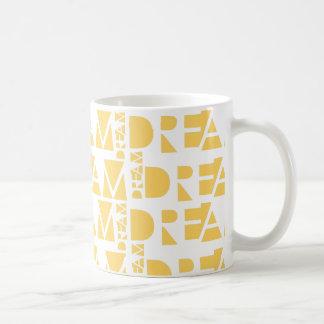 Yellow Dream Geometric Shaped Letters Coffee Mug