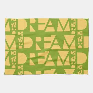 Yellow Dream Geometric Shaped Letters Tea Towel