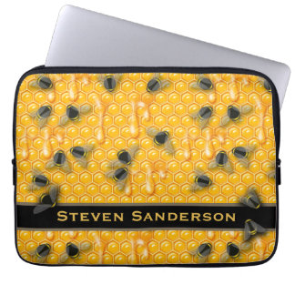 Yellow Drippy Honeycomb with Bumble Honey Bees Laptop Sleeve