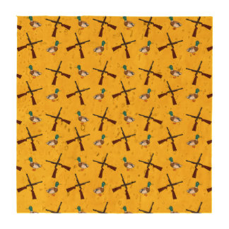 Yellow duck hunting pattern beverage coasters