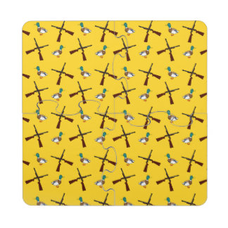 Yellow duck hunting pattern puzzle coaster