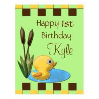 Yellow Duckie, Pond & Cattails 1st Birthday Postcard