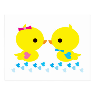 Yellow Duckies Kawaii Cartoon Postcard