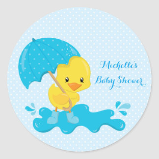 Yellow Duckling with Blue Umbrella and Polka Dots Classic Round Sticker
