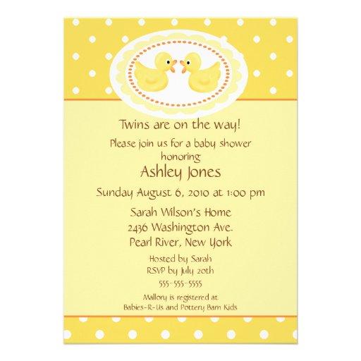 Yellow Ducks Twins Baby Shower Custom Invitations